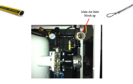 "This picture is showing the main air pressure guage with the 2"" air inlet and 4"" suction camlock inlet"