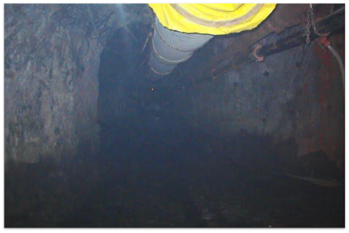 underground mine ventilation shaft with piping